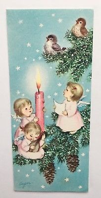 Vintage Greeting Card Christmas Angels Birds Pink Marjorie M Cooper Vintage Christmas Photos, Christmas Card Images, Christmas Scenes, Victorian Christmas, Retro Christmas, Christmas Greeting Cards, Christmas Pictures, Christmas Angels, Christmas Art
