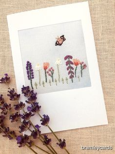 Embroidered Summer Hedgerow Card for Birthday. Get Well. Thank you £4.00 Cross Stitch Cards, French Knots, Get Well Cards, Satin Stitch, Embroidered Flowers, Poppies, Daisy, Birthdays, Butterfly