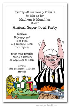 Our exclusive Food Referee Football Party Invitations features a referee declaring the food table touchdown worthy. Great for tailgating invitations, football invitations, Super Bowl invitations and more. Actual Size: x Super Bowl, Football Party Invitations, A Table, Referee, Football Parties, Football Tailgate, Football Stuff, Football Food, Football Season