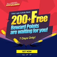 Dear fans, now the daily Login Activity Starts. 200+ Free Reward Points are waiting for you!! More details, visit http://www.soufeel.com/login-activity/