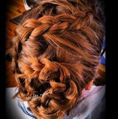 Dutch braid into a flower bun