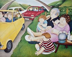 Britain's Biggest Stockist of Beryl Cook Fine Art Beryl Cook, Plus Size Art, Funny Sexy, English Artists, Watercolor Sketch, Funny Art, Comic Art, Art Projects, Picnic