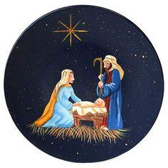 Primitive Nativity Scene Painted Plate