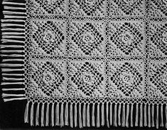 Irish Crochet and Popcorn Bedspread pattern originally published in New Book of Bedspreads, Spool Cotton Co. #65.
