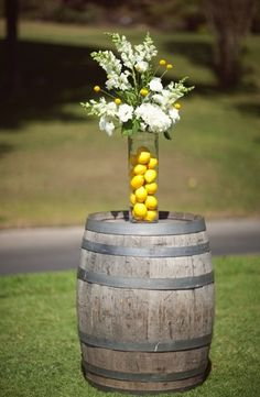 centerpieces, Craspedia, dahlia, Lemons, rustic, shabby chic, tubaroses, white, yellow, center, decor, decorations, details, flowers, table, theme, wedding, irvine, California