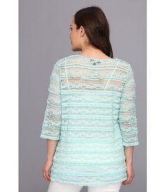 Karen Kane Plus Size Fashion Aqua Mint Plus Size V-Neck Ruffle Lace Top available from 6PM #Karen_Kane #6PM #Designer #Plus #Size #Clothing #Plus_Size_Fashion #ScoreScore