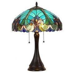 Blue Stained Glass Tiffany-style Victorian 2-light Table Lamp | Overstock.com Shopping - The Best Deals on Tiffany Style Lighting