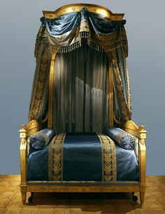 c.1805 The Talleyrand Bed--French Empire Giltwood Lit à Baldaquin. The bed is named after the original owner the French political power-broker Charles-Maurice Talleyrand-Périgord, Prince de Bénévent.