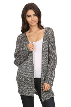 Alexander   David Womens Casual Loose Long Sleeve Open Front Knit Cardigan Sweater