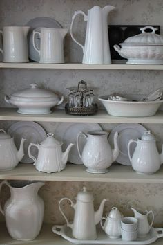 white china displayed on shelf, farmhouse chic