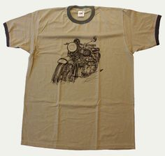 T-shirt moto Vincent HRD Black Shadow 1000 cm3 1948 khaki color http://www.tshirtvintage.com