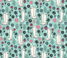 Springtime Wellies by Andrea Lauren fabric by andrea_lauren on Spoonflower - custom fabric