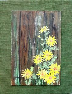 Acrylic Painted DAISIES on Wood with Burlap by theowlsnestofnc, $20.00: