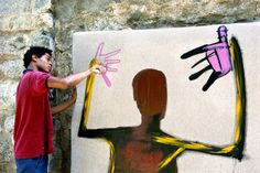 "Jean-Michel Basquiat painting ""Punch Bag"", St. Moritz, 1983. Photo Lee Jaffe…"