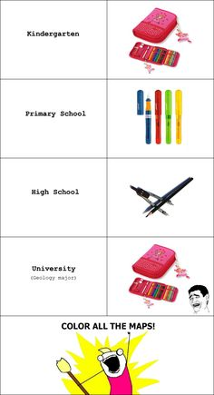 The evolution of school supplies for a geology student - True! Earth Science, Science And Nature, Geology Puns, Geotechnical Engineering, Challenge Accepted, Science Humor, Field Trips, Rock Formations, Rocks And Minerals