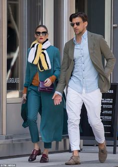 Fashionista: The former The City star accessorised with a pair of oversized shades, while ;ater wrapping up with a bold yellow and white fur stole