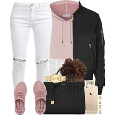 Pink Yeezys (the best ones I've seen tbh) by livelifefreelyy on Polyvore featuring adidas, Topshop, FiveUnits, Yves Saint Laurent, Movado and Maison Margiela