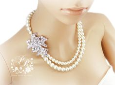 Wedding Necklace Swarovski Pearl & Crystal Rhinestone Bridal Necklace Wedding Jewelry rose