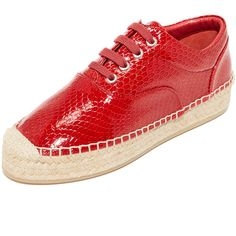 MM6 Espadrille Sneakers (872.395 COP) ❤ liked on Polyvore featuring shoes, sneakers, red, espadrille sneakers, red sneakers, woven sneakers, red espadrilles and platform espadrille sneakers