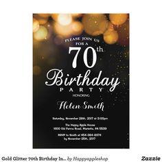 Gold Glitter 70th Birthday Invitation Card 75th Invitations 60th Party