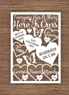 Everyone has a story, here is ours PDF SVG Instant Download Digital Papercut Template by ArtyCuts on Etsy