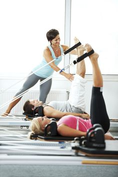 Use machines to focus energy on exercising one muscle group at a  time with pilates reformer #pilates #pilatesreformer