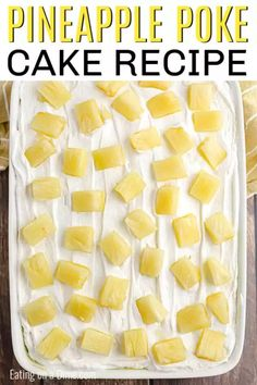 Pineapple Poke Cake Recipe is moist and delicious with lots of pineapple flavor in each bite. Make this decadent cake with just a few simple ingredients. Pineapple Cake Mix Recipe, Pineapple Poke Cake, Pineapple Pudding, Banana Pudding Poke Cake, Pineapple Recipes, Vanilla Pudding Mix, Cake Mix Desserts, Poke Cake Recipes, Poke Cakes