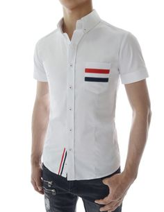 Sensual Mens Slim Fit Stretchy 3 Color Line Collar Short Sleeve Shirts at Amazon Men's Clothing store: