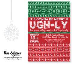 Christmas INVITATION Ugly Sweater Party. Custom by NineEighteen #ChristmasParty #UglySweaterParty #Personalized #Christmas2016 #MerryAndBright #etsy #PrintableInvitation #NineEighteen #NineEighteenHolidays