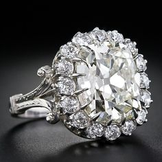 7.02 Carat Antique Cushion Cut Diamond Ring - 10-1-4397 - Lang Antiques
