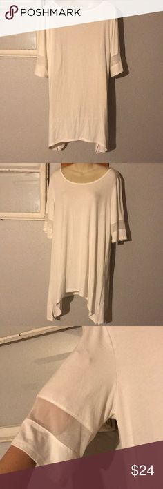 BKE Top BKE Top Size Large White color/White mesh on arms  Shark bite style Small stain on neckline and small stain on arm/see pictures. No rips  Great preowned condition! Any questions just ask! BKE Tops