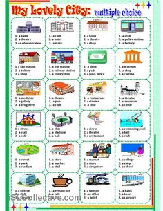 My lovely city: multiple choice worksheet - Free ESL printable worksheets made by teachers