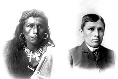 """""""A before and after shot of a man who attended Carlisle Indian boarding school. The destruction of an entire culture in one photo"""""""