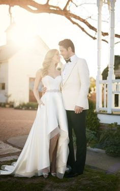 Carter + Sia Sweetheart corset and high-low skirt wedding separates by Martina Liana