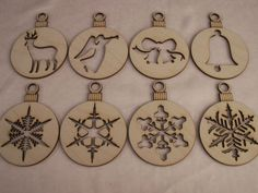 Christmas Ornaments, 8 Piece Set,Laser Cut Outs,Unfinished Wood,Ornaments,Tags