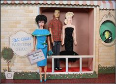 1960's Barbie and Ken outside Barbie's Fashion Salon by Hey Sailor Greetings