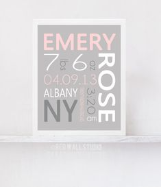 Pink and Gray Nursery Art - Baby Girl Nursery Decor - Birth Announcement Wall Art - Personalized Baby Name Art - Birth Details Art Print on Etsy, $20.00