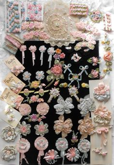 Antique Ribbonwork and lace lingerie pins.  French ribbon work rose trim.  From the flapper era art deco period from the 1920s to 1940s