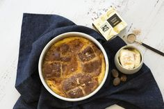 Quince Hot Cross Bun Bread and Butter Pudding - Maggie Beer Beer Recipes, Pudding Recipes, Cooking Recipes, Easter Recipes, Dessert Recipes, Easter Ideas, Bread And Butter Pudding, Hot Cross Buns, Christmas Pudding