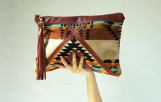 Leather and Pendleton pouch/ clutch with tassel by ArcOfADiver