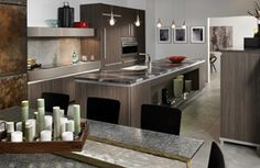 Overview of Expressions - Stunning Kitchen from Wood-Mode - LOVE THE MIX OF MATERIALS ON THE VARIOUS CABINETS & SURFACES