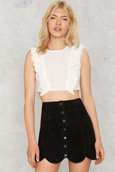 Costa Ruffle Crop Top - Sale: Clothes: 4, S, M
