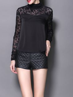 Black Pierced Lace Long Sleeved top