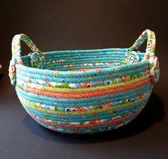 Summer Fun Large Coiled Fabric Basket with by JKTextileArts ♡♡