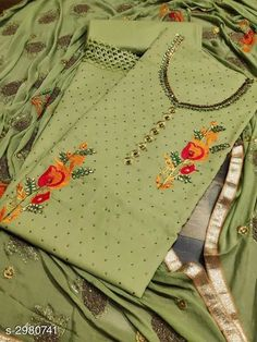 Embroidered Cotton Dress Material With Dupatta from Stf Store Elite Fashion, Women's Fashion, Neck Designs For Suits, Boutique Suits, Cotton Suit, Saree Dress, Waterproof Fabric, Indian Designer Wear, Indian Wear