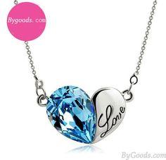 Heart Shape Love Letter Crystal Pendant Necklace only $19.99 in ByGoods.com! #bygoods #Heart #Shape #Love #Letter #Crystal #Pendant #Necklace
