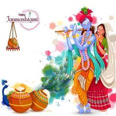 God Krishna playing flute with Radha on Happy Janmashtami festival background of India — Stock Illustration