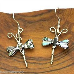 Handmade-Silver-Earrings-Dangle-Fashion-Jewelry-Alpaca-Abalone-Dragonfly-Mexican