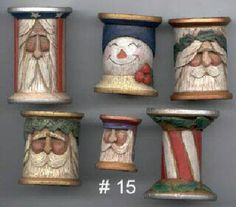 Decorative Relief Carving in Wooden Spools Christmas Ornaments To Make, Christmas Wood, Primitive Christmas, Christmas Deco, Christmas Projects, Handmade Christmas, Christmas Crafts, Wooden Spool Crafts, Spindle Crafts