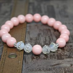 PINK/ WHITE bracelet Jade beads, Natural Agate w/ Clear Crystal, Beaded Bracelet Jewelry, Women Bracelet. by AgouraDesign on Etsy